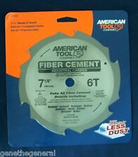 "AMERICAN TOOL 7 1/4"" x 6 INDUSTRIAL CARBIDE TEETH FIBER CEMENT SAW BLADE HARDI"
