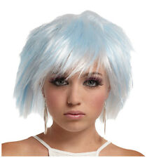 Synthetic Roleplay Anime Peluca Cosplay Reenactment Crossdresser Blue/white Wig