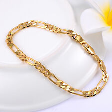 Yellow Gold Plated Mens Figaro Chain Bracelet Solid Curb Link 8inch
