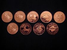 9 Ounces .999 Copper Round Zodiac Signs Aries,Taurus,Gemini,Cancer ect.(9Coins)