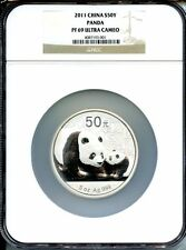 CHINA  2011 PANDA  SILVER 5 OZ  50 YUAN    NGC PROOF 69 ULTRA CAMEO