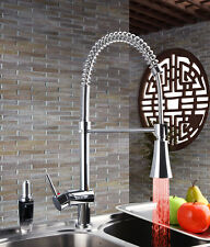 LED Chrome Kitchen Sink Faucet Pull out Spray Swivel Spout Mixer Tap