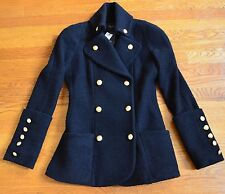 New NWT $996 Smythe Les Vestes Reefer Black Blazer Wool Jacket Coat UK 6 8 US 4