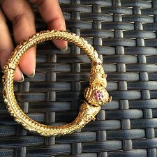 18k Gold Dragon Lion Head cartier Bracelet Cuff Oscar Webb Screw Ruby Love