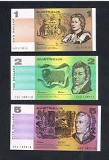 1982-1990 Australia set of 3 UNC $1 $2 $5 Dollar banknotes Uncirculated