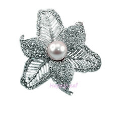 @@Simulated Pearl Brooch Pin with CZ flower design for Bridal Wedding Gift bling