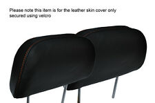 ORANGE STITCH 2X FRONT HEADREST LEATHER SKIN COVERS FITS HONDA PRELUDE 1986-1991