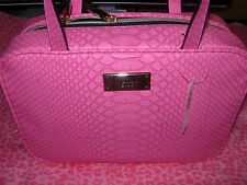 Victoria's Secret Travel Case Cosmetic Bag HOT Pink Python NWT
