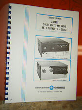 1973 DODGE CORONET PLYMOUTH SATELLITE FURY FACTORY RADIO FACTORY SERVICE MANUAL