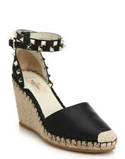 Valentino Rockstud Leather Wedge Espadrilles $895 NIB 37  7