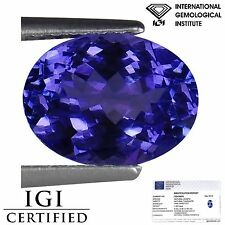 1.65 Ct IGI Certified AA+ Natural D Block Tanzanite Blue Violet Color Oval Cut