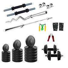 FITFLY Home Gym Set 20Kg Plates + 3Ft Plain +3Ft Curl Rod + Gloves + Dumbbells