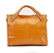Cognac Camel Brown Faux Leather Bag TOTE Grab Handbag Twin Handle Shoulder Strap