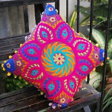"""Indian Vintage Pillowcases 16x16"""" Pom Pom Woolen Embroidery Suzani Cushion Cover"""