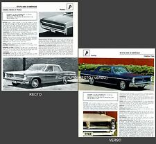 PONTIAC Catalina Visite / Cataline Berline -  FICHE AUTO COLLECTION #J1