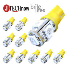 10 x T10 194,168,2825, 5 x 5050 SMD LED Yellow Super Bright Car Lights Lamp Bulb