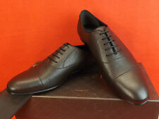 NIB GUCCI DARK BROWN PRAGA GRAINED LEATHER PRINTED LOGO DRESS OXFORDS 11 12