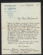 """CHARTRES (28) HOTEL-RESTAURANT DE L'OUEST """"Ch. CHARTIER Propriétaire"""" en 1935"""
