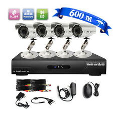 PROMO New4CH Channel 600TVL Outdoor Camera Night Vision Security CCTV DVR System