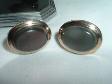 VINTAGE SWANK BLACK OYSTER GOLDTONE CUFFLINKS IN GIFT BOX