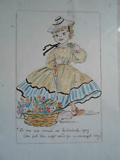 Unique Vtg Retro Sketch / Painting Delightful Picture Signed: Artist MARSHALL