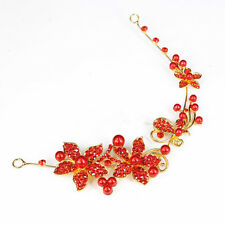 Women Ladies White/Red Alloy Crystal Flower Bridal Forehea Headband Accessories