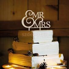 Monogram Wedding Party Decor MR&MRS Letter Sign Cake Topper Sign Stand Wood