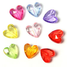 100pcs Mixed Color Plastic Faceted Heart Charm Spacer Bead Jewelry Making DIY BS