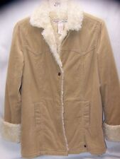 ABERCROMBIE & FITCH TAN Sherling SHERPA CORDUROY JACKET COAT SIZE Medium