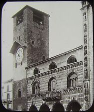 Glass Magic Lantern Slide OLD CLOCK TOWER COMO C1890 ITALY PHOTO