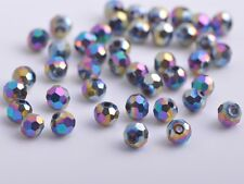100pcs 4mm Round Faceted Crystal Glass Charm Loose Spacer Beads Colorized Plated