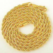 Cool 9K Yellow Gold Filled Womens Mens Twisted Rope Chain Necklace 4mm 24 Inch