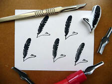 Feather Rubber Stamp Design, Quill Pen, Hand Carved, Fabric Stamp, Stamping Up
