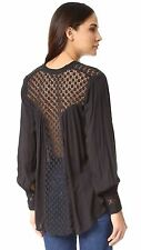 4424 New Free People The Best Crochet Lace Black Buttondown Tunic Top Medium M 8
