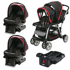 Graco Ready2Grow Double Stroller with Two SnugRide Car Seats & Extra Base, Marco