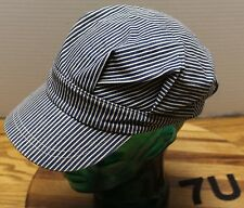 YOUTH BLUE/WHITE STRIPED RAILROAD ENGINEER STYLE HAT STRETCH FIT IN VGC