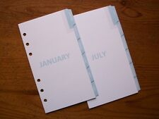 PERSONAL Size Monthly Planner DIVIDERS - 'Baby Blue' #780 12 Tabs - Fits Filofax