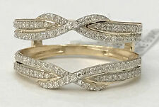 Yellow Gold Bypass Shank Solitaire Enhancer Pave 1/3ct Diamonds Ring Guard Wrap