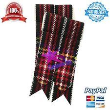 Scottish Kilt Sock Flashes Black Stewart Tartan/Black Stewart Kilt hose Flashes