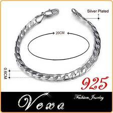 New Mens 925 Sterling Silver 6mm Bracelet Charm Bangle Link Chain Womens UK BS20