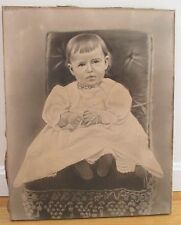 ANTIQUE VICTORIAN CHARCOAL PORTRAIT BABY CHILD 1880 BLACK WHITE FABRIC RARE