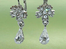 Ohrringe Blumen Straß Kristall Fb. Silber Hänger Ohrhänger Ohrstecker    SR54