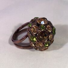 Fossil Brand Ring Bronze size 8 Crystal Green Brown Amber Excellent Sparkly