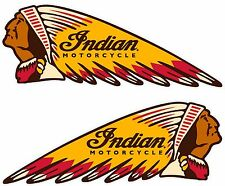 "INDIAN WAR BONNET MOTORCYCLES VINYL DECAL - 11"" x 4"" - SET OF 2"