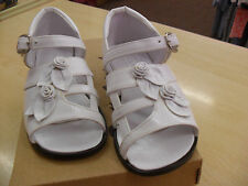 girls buckle shoe/sandal in white leather by pretty originals avarage fit bnwb