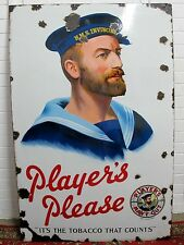 LARGE PLAYERS NAVY CUT ENAMEL SIGN, HMS INVINCIBLE ON SAILORS HAT C 1930'S