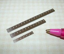 """Miniature Stainless Steel Set Rulers 6"""", 12"""", 18"""": Laser Etched  DOLLHOUSE 1/12"""