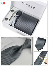 Mens Tie Set Dress Silk Tie Cufflinks Hanky Tie Clip Gift Box Grey with Strips