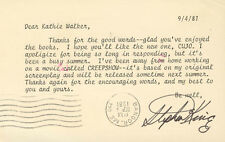 STEPHEN KING - TYPED LETTER SIGNED 09/04/1981