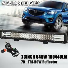 "CREE 7D+ REFLECTOR 23""INCH 648W TRI-ROW LED LIGHT BAR SPOT FLOOD COMBO OFFROAD"